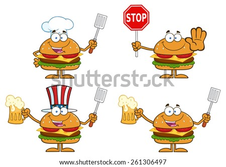 Cartoon Illustration Of Hamburger Characters 4.  Vector Collection Set Isolated On White - stock vector