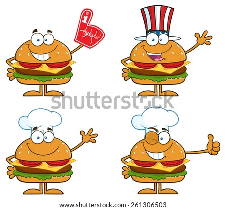 Cartoon Illustration Of Hamburger Characters 3.  Vector Collection Set Isolated On White - stock vector