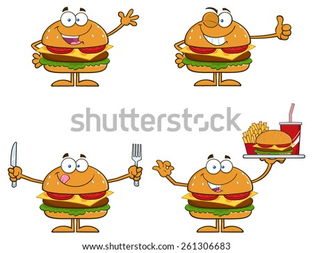 Cartoon Illustration Of Hamburger Characters 1.  Vector Collection Set Isolated On White - stock vector