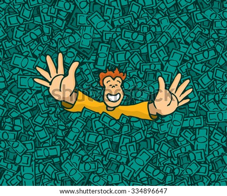 Cartoon illustration of happy rich man raising hands on money pool - stock vector
