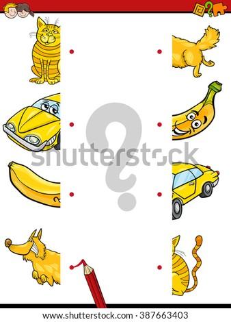 Cartoon Illustration of Kindergarten Education Halves Matching Activity Task for Children - stock vector