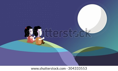Cartoon illustration of lovers, couples sitting on grass mountain hill watching the night sky, big full moon. Happy family reunion on Chinese Mid Autumn Festival. Astronomical observation, discovery. - stock vector