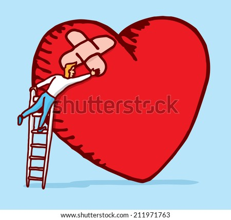 Cartoon illustration of man patching a heart with adhesive bandages - stock vector