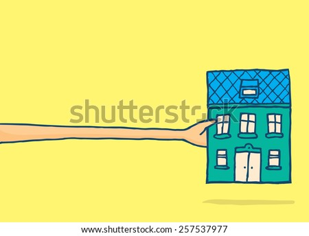 Cartoon illustration of man stretching a very long arm to reach his dream house - stock vector