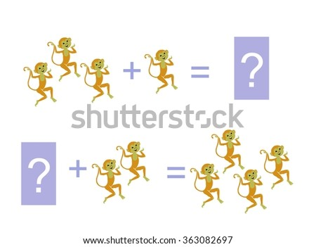 Cartoon illustration of mathematical addition. Examples with funny monkeys. Educational game for children. - stock vector