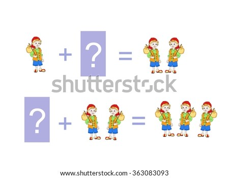 Cartoon illustration of mathematical addition. Examples with little boys. Educational game for children. - stock vector