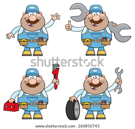 Cartoon Illustration Of Mechanic Character 6.  Vector Collection Set  - stock vector