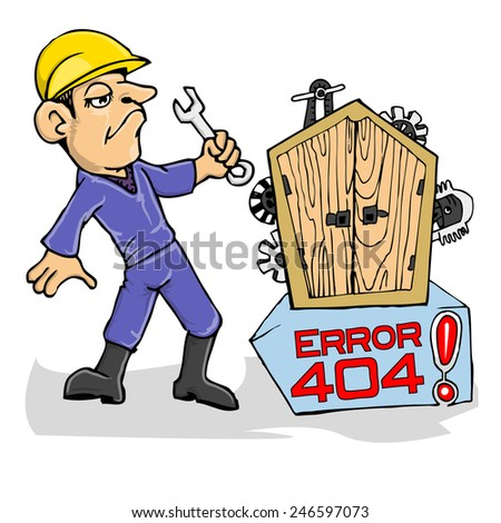 cartoon illustration of mechanic for error landing page - stock vector