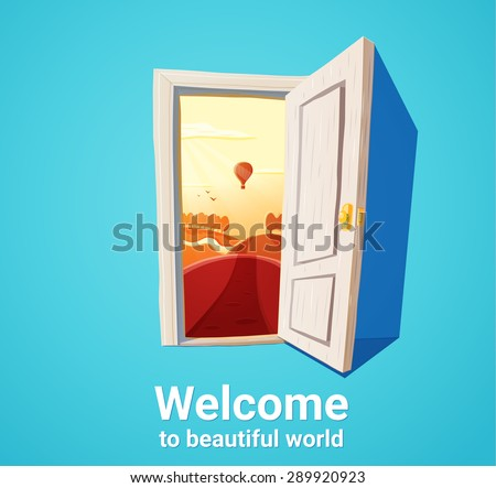 Cartoon illustration of open door and sunset fantasy nature. Freedom concept. - stock vector