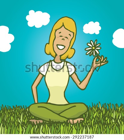 Cartoon illustration of relaxed woman enjoying nature and holding a flower - stock vector