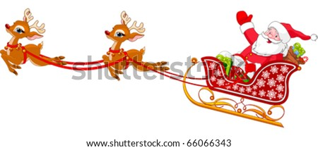 Cartoon illustration of Santa Claus in his sleigh - stock vector