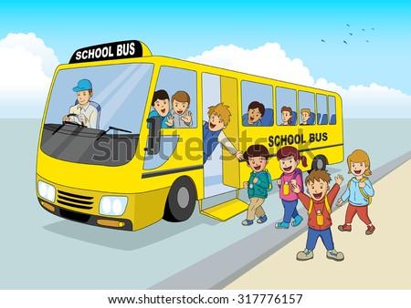 Cartoon illustration of school children boarding a school bus - stock vector