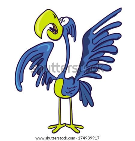 cartoon illustration of screaming bird - stock vector