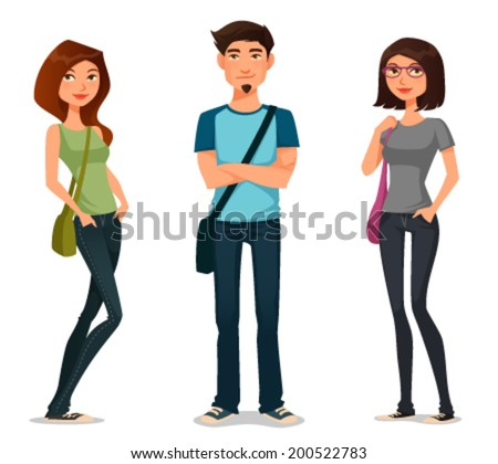 cartoon illustration of students in casual fashion - stock vector