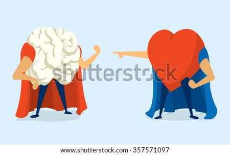 Cartoon illustration of super hero battle between brain and heart - stock vector