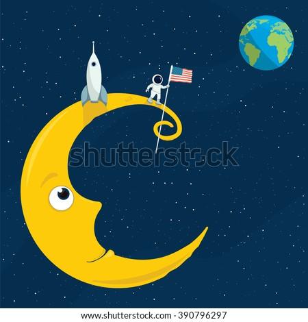 cartoon illustration of the man on the moon - stock vector
