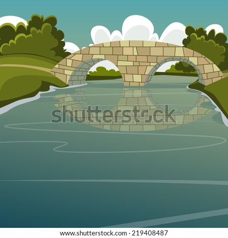Cartoon illustration of the stone bridge over the river. - stock vector
