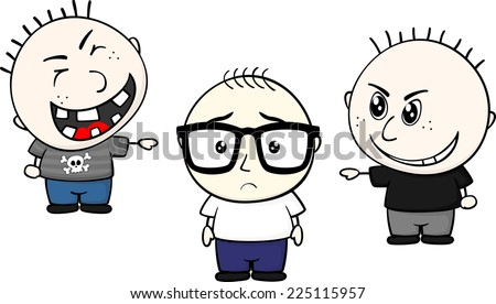 cartoon illustration of two childs bullying and teasing a little kid with glasses isolated on white background - stock vector