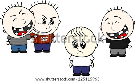 cartoon illustration of two childs bullying and teasing little kid isolated on white background - stock vector
