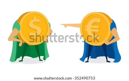 Cartoon illustration of two coin super heroes face off - stock vector