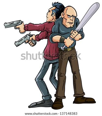 Cartoon illustration of two men operating the Buddy System standing back to back wielding their weapons in order to protect each others backs and cover danger coming from all directions  - stock vector