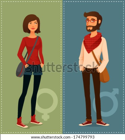 cartoon illustration of young people in hipster fashion clothes - stock vector