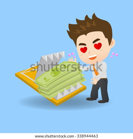 cartoon illustration set of Business man is tempted to earn money by dangerous investment, fall into the trap - stock vector