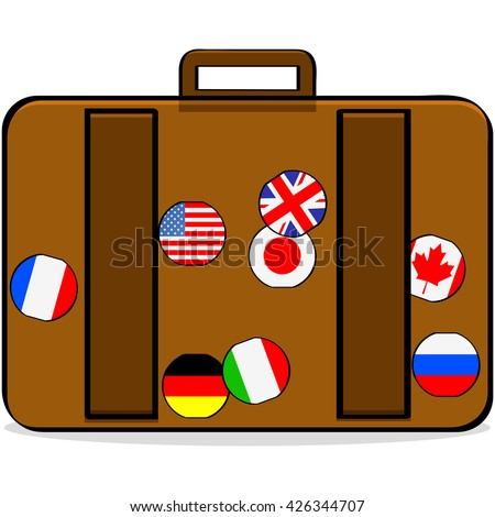 Cartoon illustration showing a suitcase with badges of different countries - stock vector
