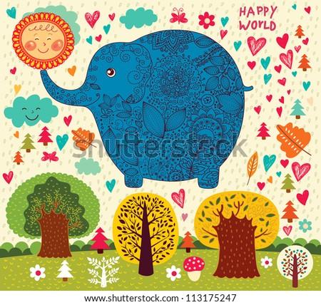 Cartoon illustration with funny elephant, sun and trees - stock vector