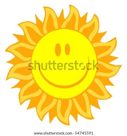 Cartoon Illustrations Of Smiling Sun - stock vector