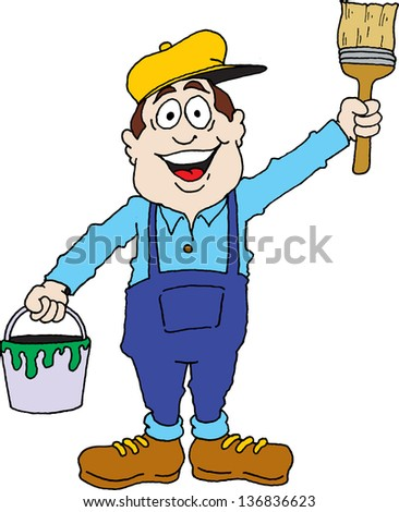 Cartoon image of a painter ready for work. - stock vector