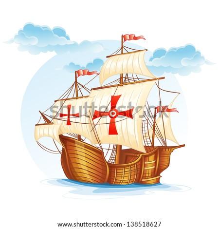 Cartoon image of a sailing ship of Spain, XV century - stock vector