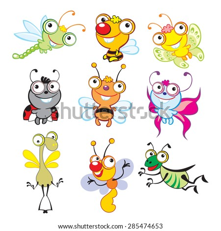 Cartoon insects. Big eyes animals set. Funny insects.  - stock vector