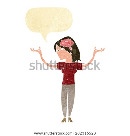 cartoon intelligent woman with speech bubble - stock vector