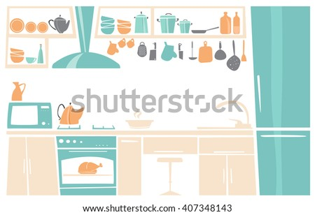 Cartoon Interior of kitchen place concept in flat design. Kitchen icons and elements in minimalistic style and color. - stock vector