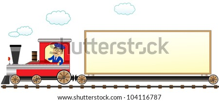 cartoon isolated train with conductor and space for text - stock vector