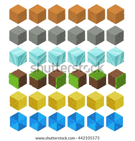 Cartoon Isometric game brick cubes set. Wood, stone, ice, grass, sand, water elements. The vector illustration for ui, web games, tablets, wallpapers, and patterns. - stock vector