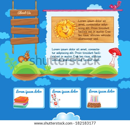 Cartoon kid template with illustrations - stock vector