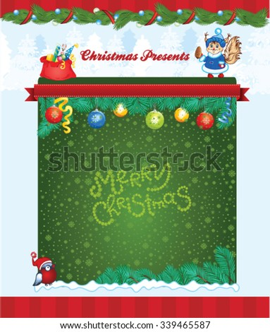 Cartoon kid winter holiday template - stock vector