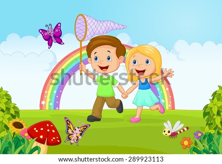 Cartoon kids catching butterfly in the jungle - stock vector