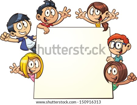 Cartoon kids holding a sign. Vector clip art illustration with simple gradients. All in a single layer. - stock vector