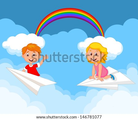 Cartoon kids on a paper plane - stock vector