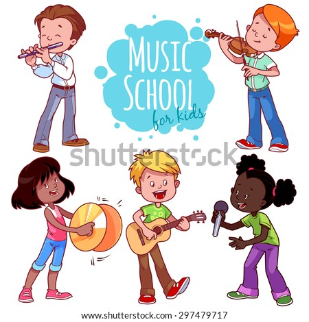 Cartoon kids playing musical instruments and singing. Vector clip art illustration on a white background. - stock vector