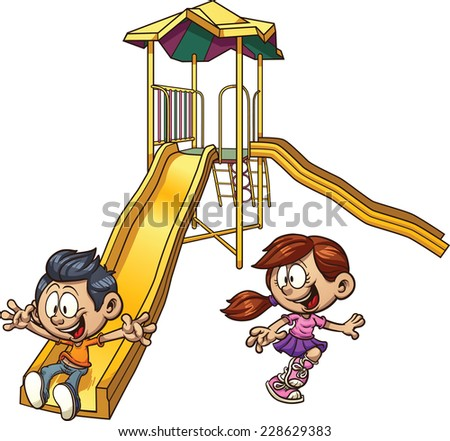 Cartoon kids playing on a slide. Vector clip art illustration with simple gradients. Each on a separate layer. - stock vector