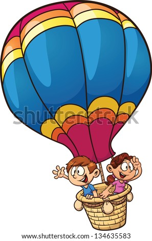 Cartoon kids riding a hot air balloon. Vector clip art illustration with simple gradients. All in a single layer. - stock vector