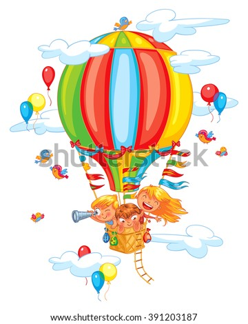 Cartoon kids riding hot air balloon. Funny cartoon character. Vector illustration. Isolated on white background - stock vector