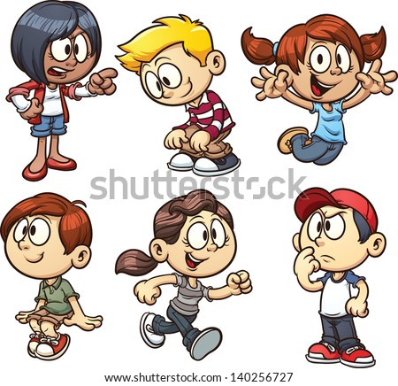 Cartoon kids. Vector clip art illustration with simple gradients. Each on a separate layer. - stock vector