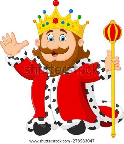 Cartoon king holding a golden scepter - stock vector