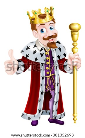 Cartoon king mascot wearing a crown, holding a sceptre and giving a thumbs up - stock vector