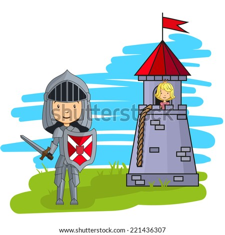 Cartoon knight going to rescue princess from the tower - stock vector